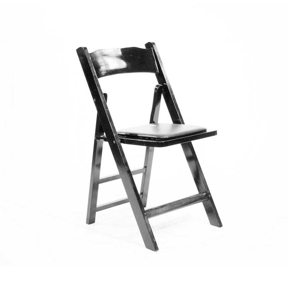 Black wooden folding chairs with padding