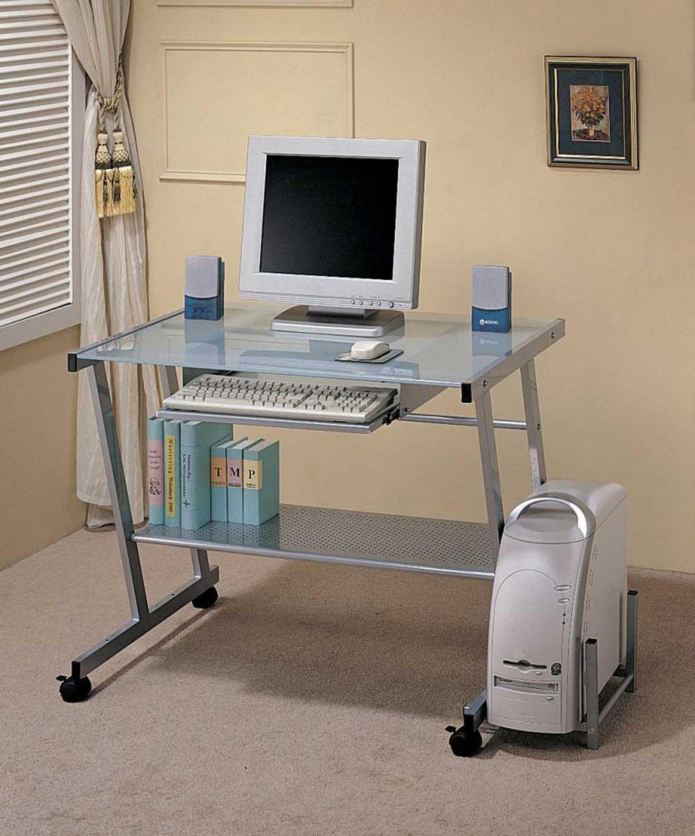 Coaster silver metal computer desks