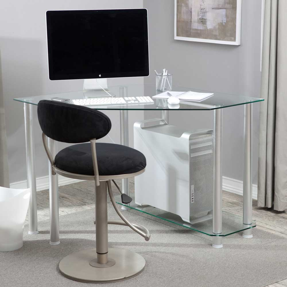 Corner Small Computer Desk with Clear Glass