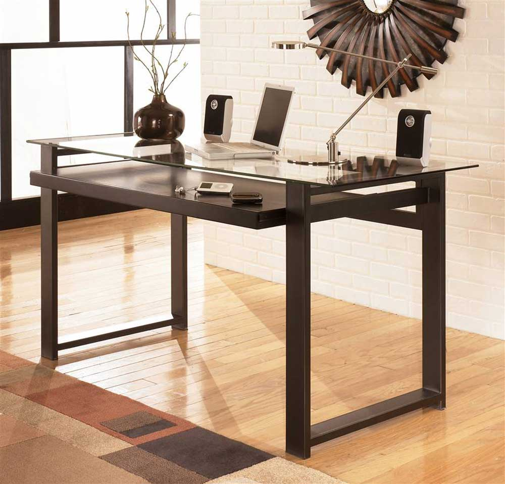 Deluxe Contemporary Glass Top Workstation