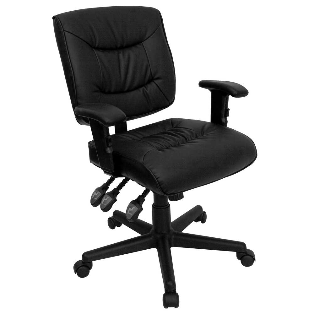 Functional Black Leather Height Adjustable Task Chair