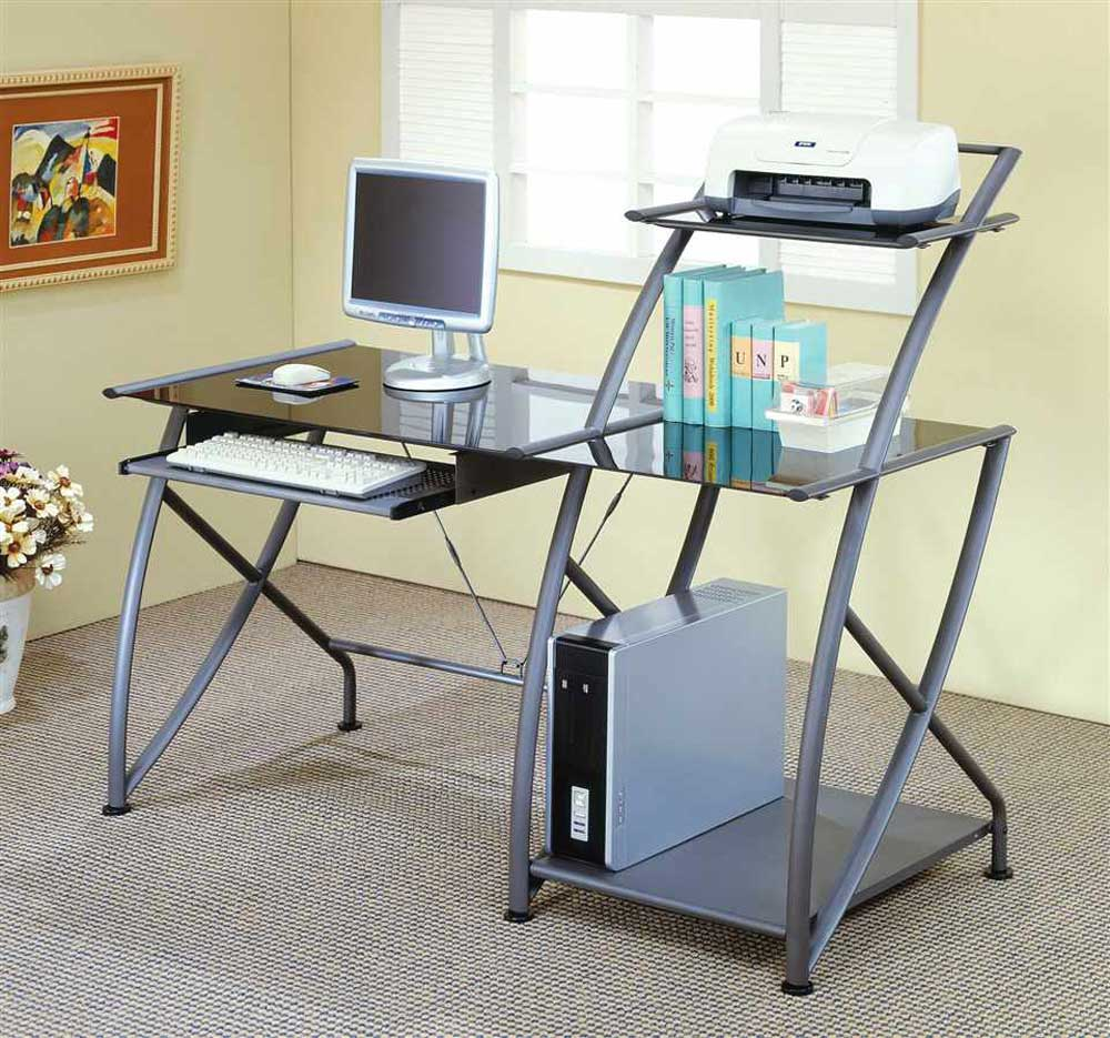 Glass Metal Modular Computer Desk Design