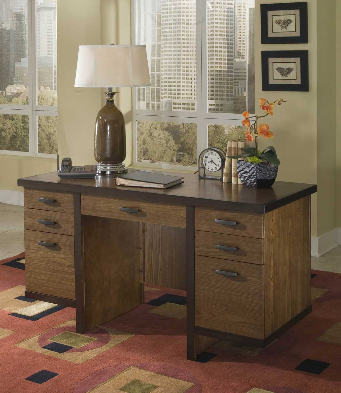 Homestyles Solid Walnut Pedestal Computer Desk