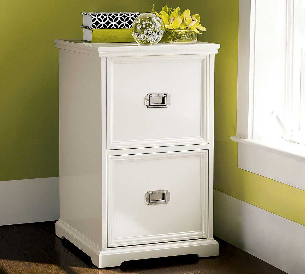 Houston White Two Drawers File Cabinets Unit