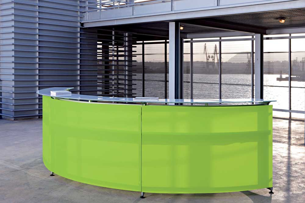 Informa Curved Glass Minimalist Green Reception Desk