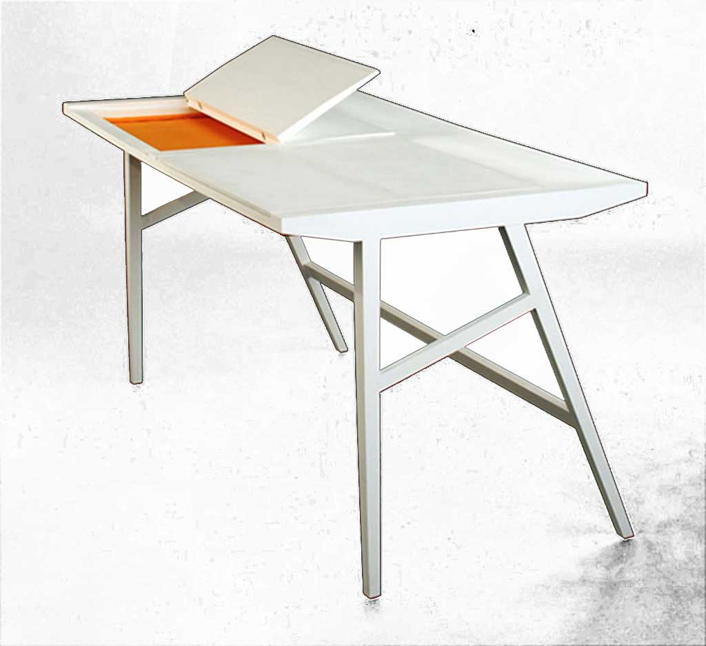 Modern White IKEA Laptop Table with Hidden Storage Designs