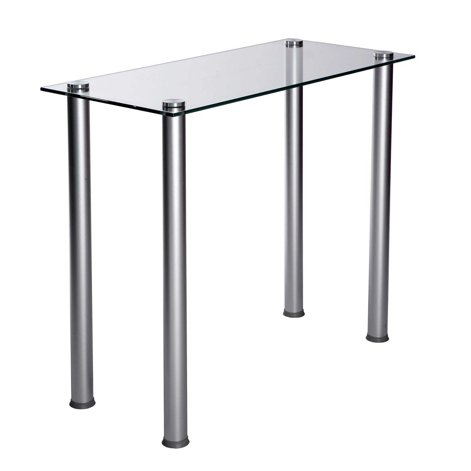 Modern clear glass metal table for writing