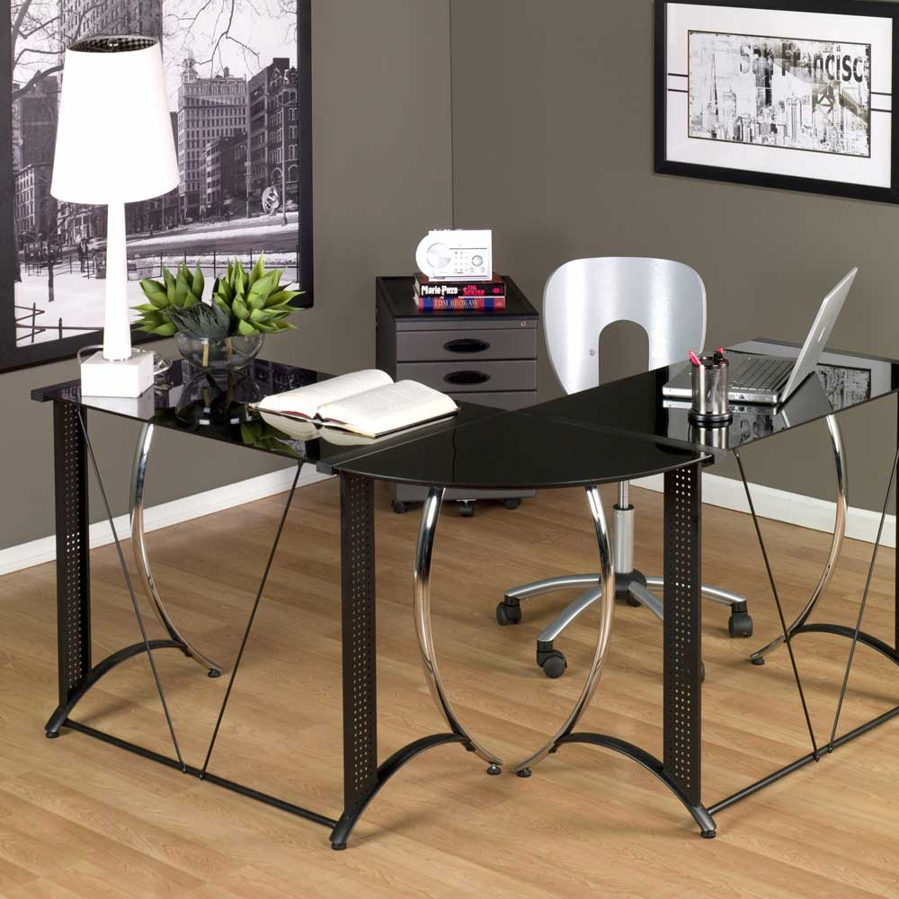 Monterey Black Glass L-Shaped Chrome Desk