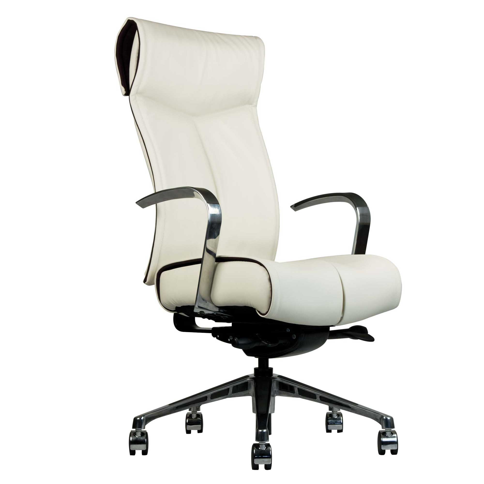 NV white leather ergonomic executive chair with steel arms
