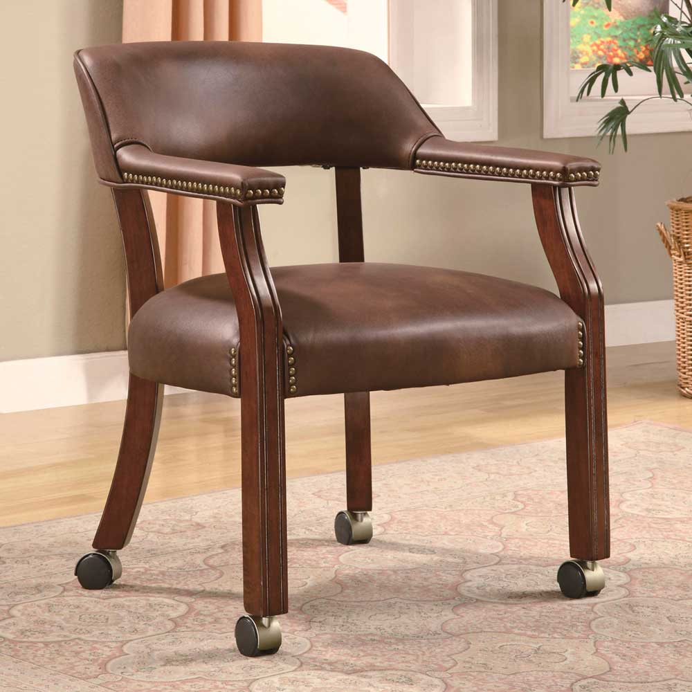 Nailhead Trim Traditional Vinyl Home Office Side Chair