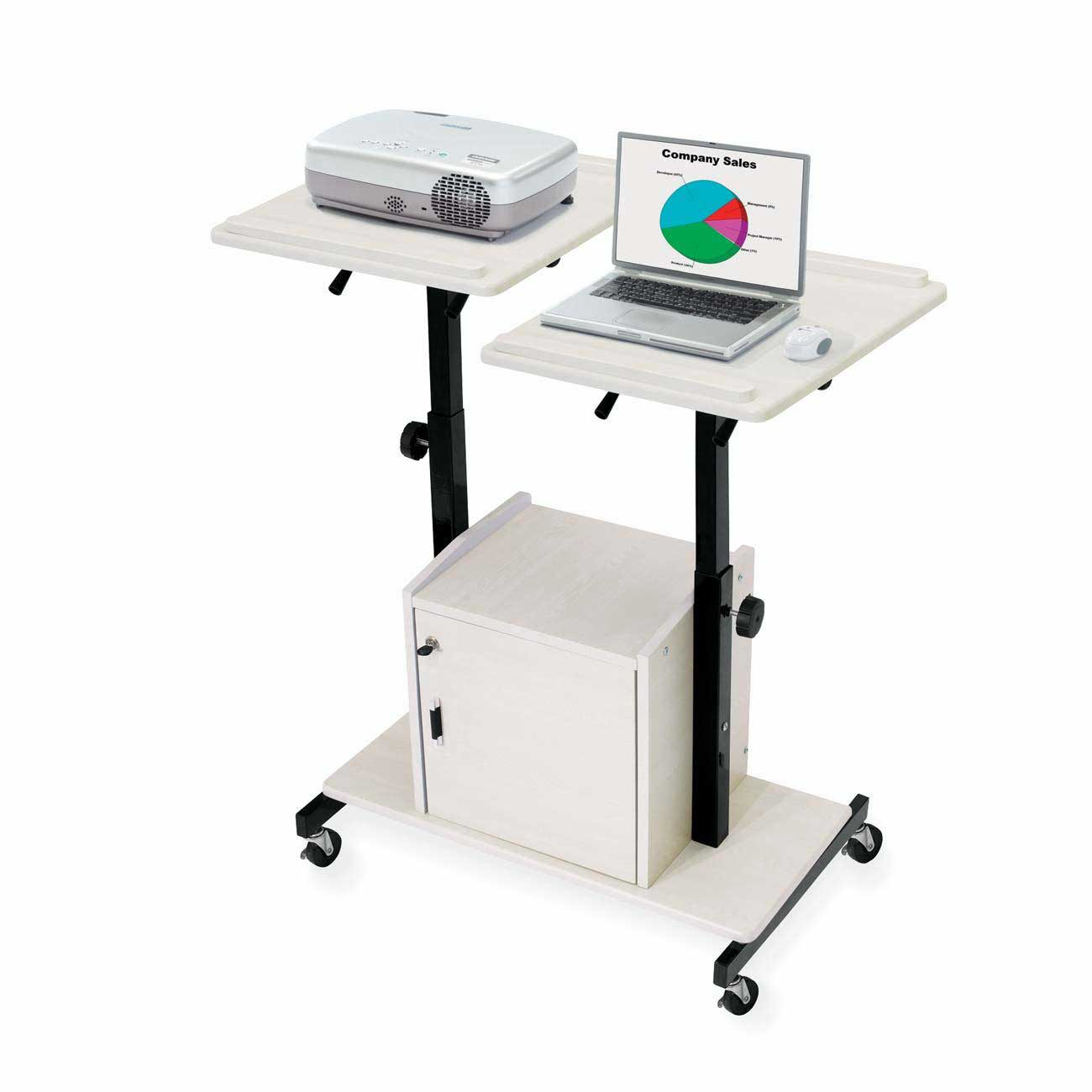Oklahoma Sound white portable laptop presentation cart