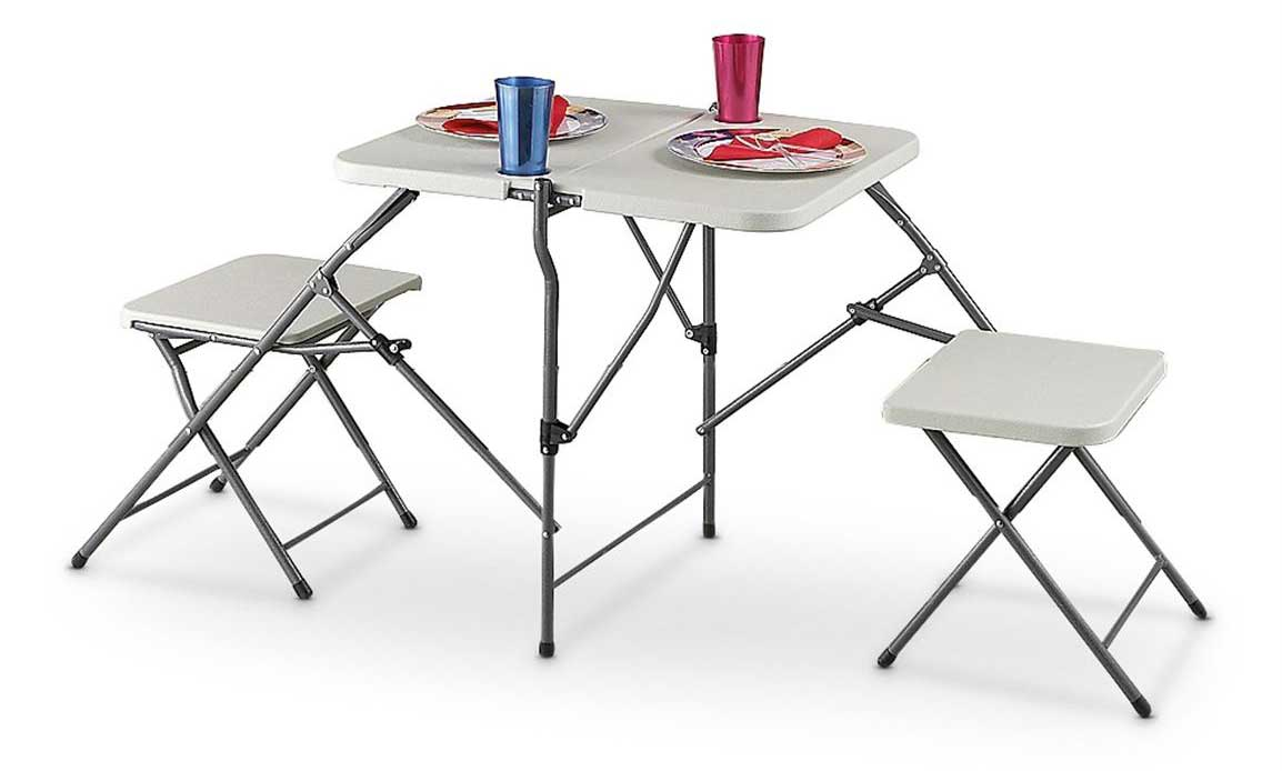 Portable White Folding Table and Two Bench Set