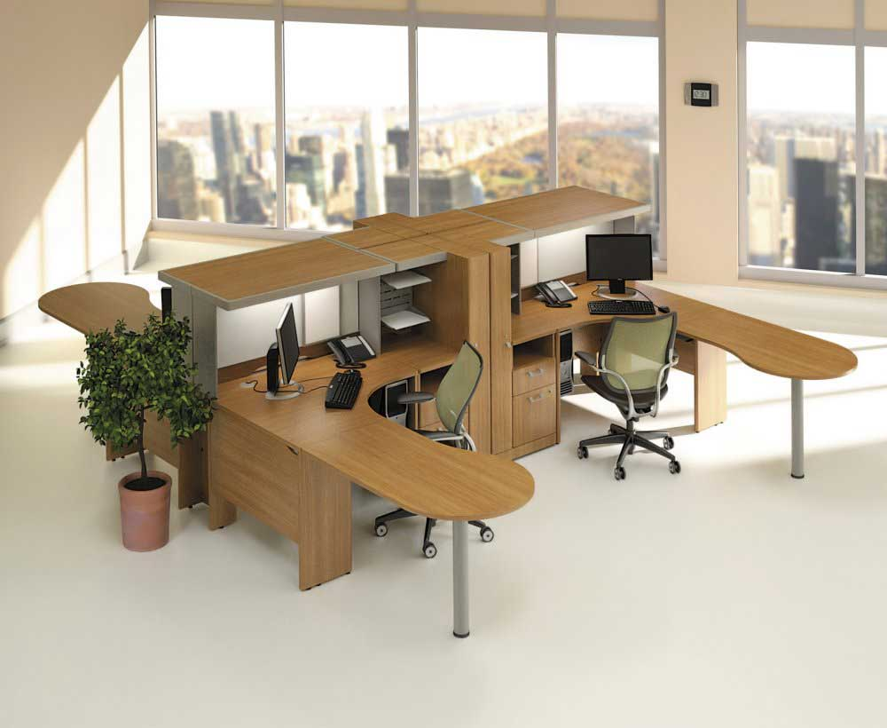 Quantum contemporary modular cherry office furniture
