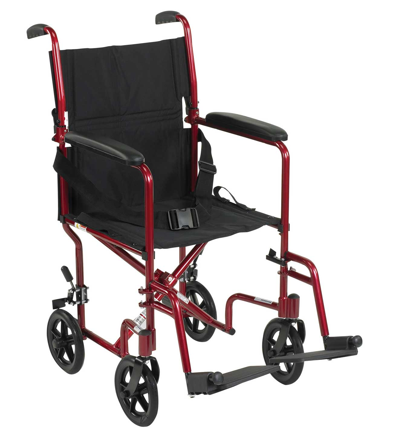 Red aluminum frame lightweight transport chairs