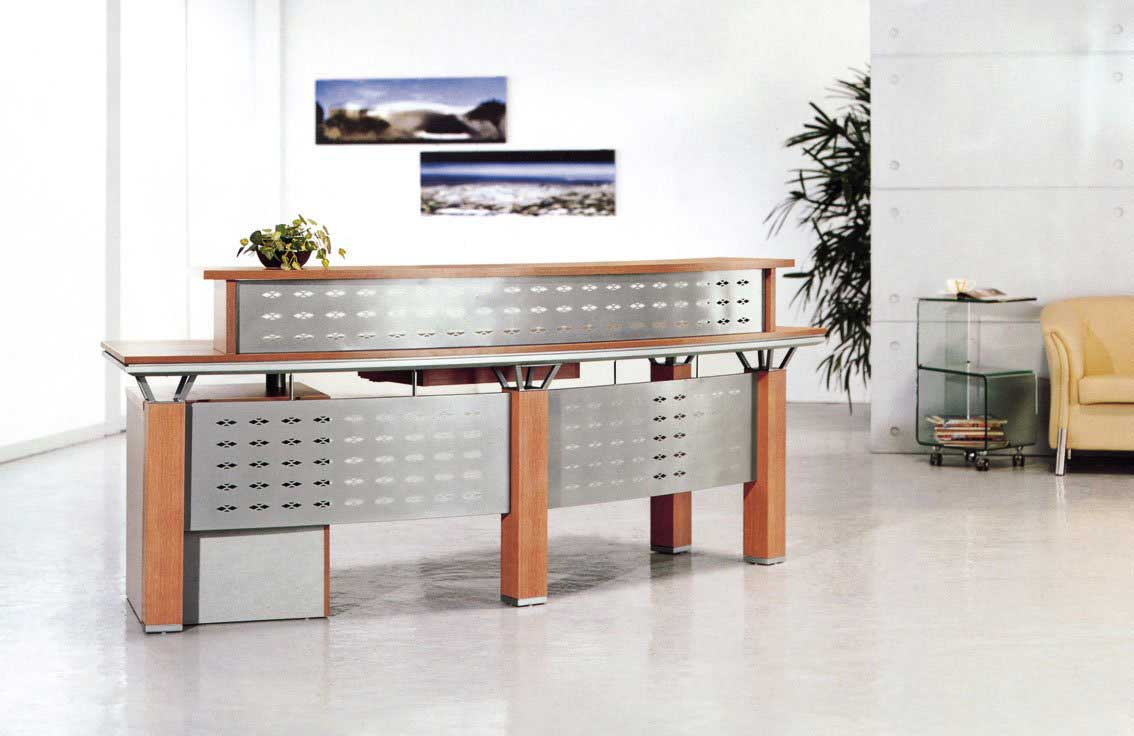 Solid Wood Office Reception Desk Counter with Glass