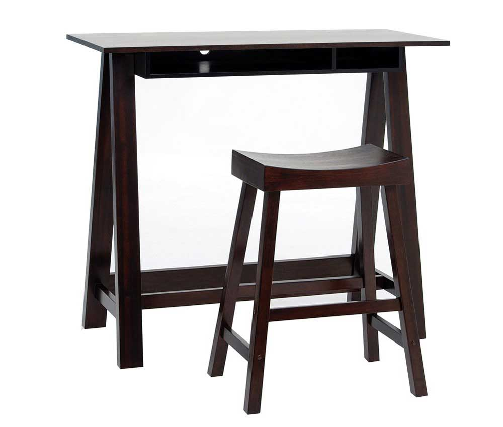 Solid dark cherry RTA studio desk and chair