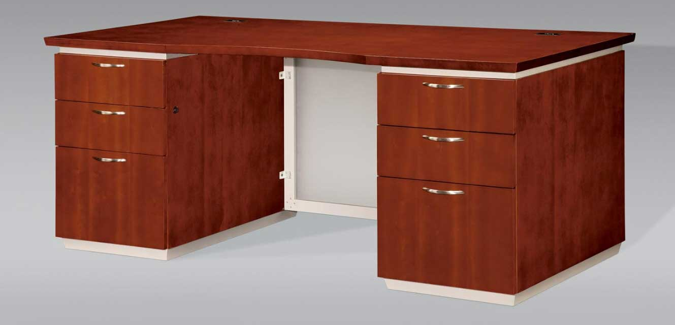 Solid wood executive office table with storage drawer