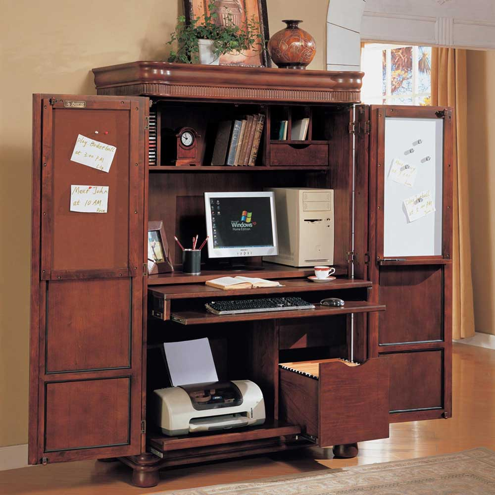 computer corner armoire to facilitate your work. Black Bedroom Furniture Sets. Home Design Ideas