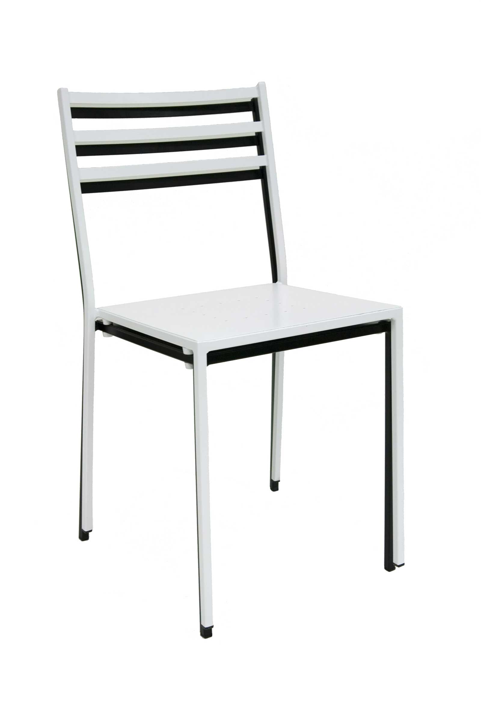 Tally Stk Black White Metal Stacking Chairs