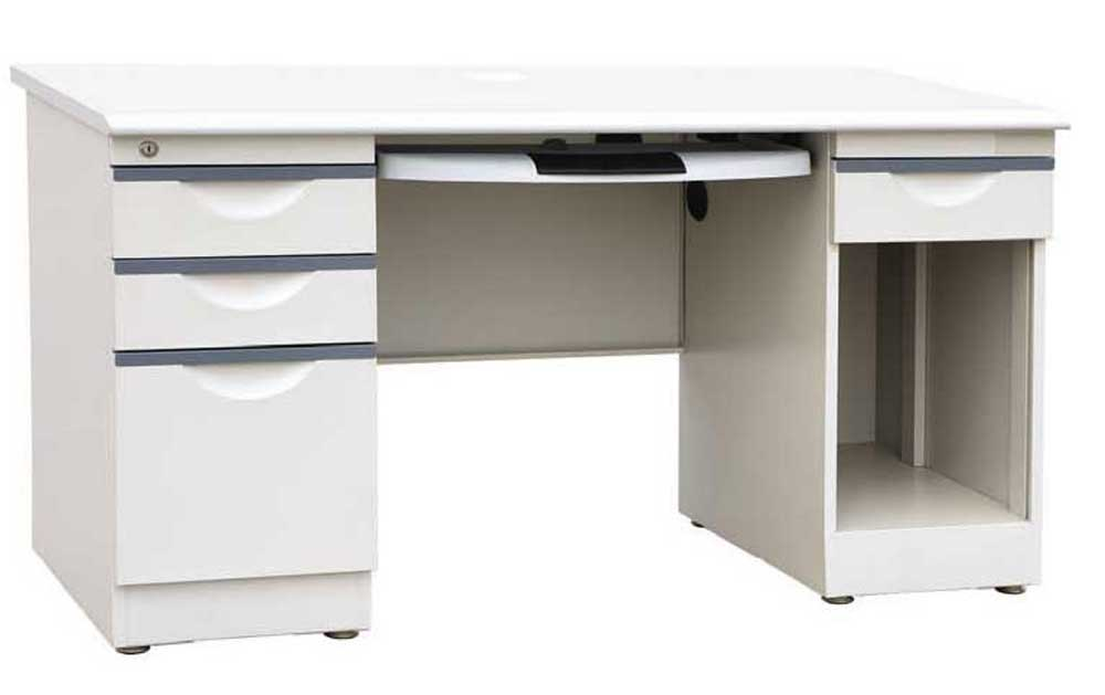 Wide Metal Computer Workstation with Side Cabinet