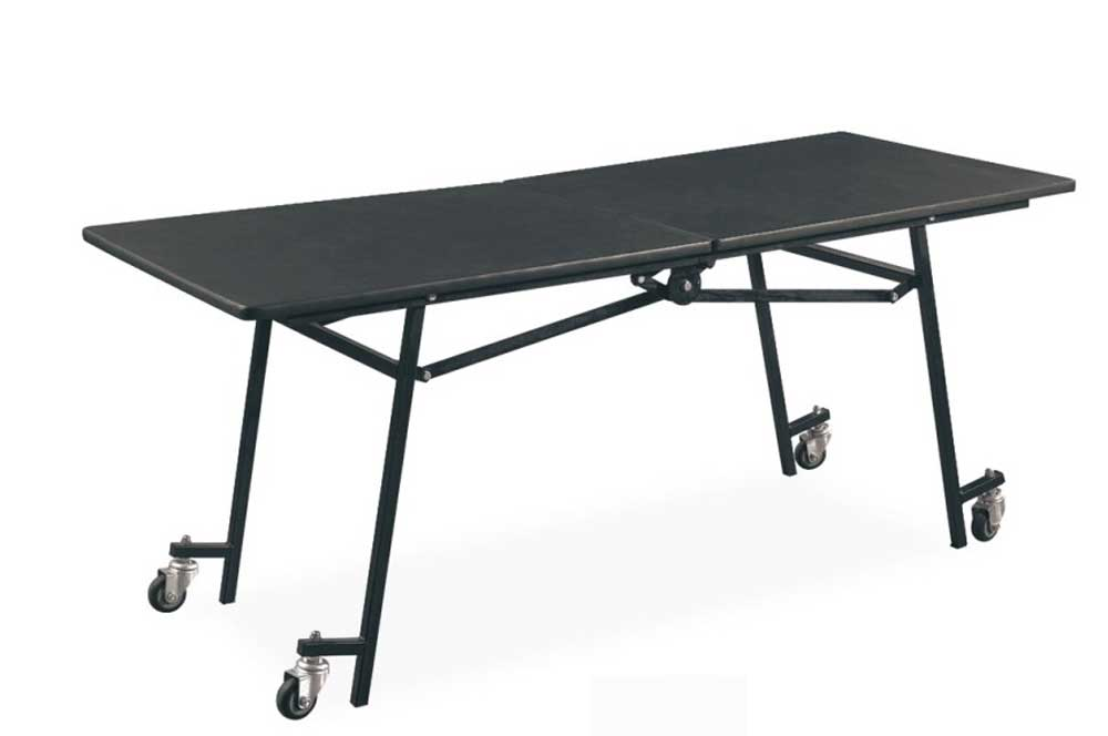 black mobile metal folding tables
