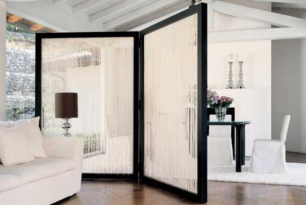 chromed metal chains room and wall divider