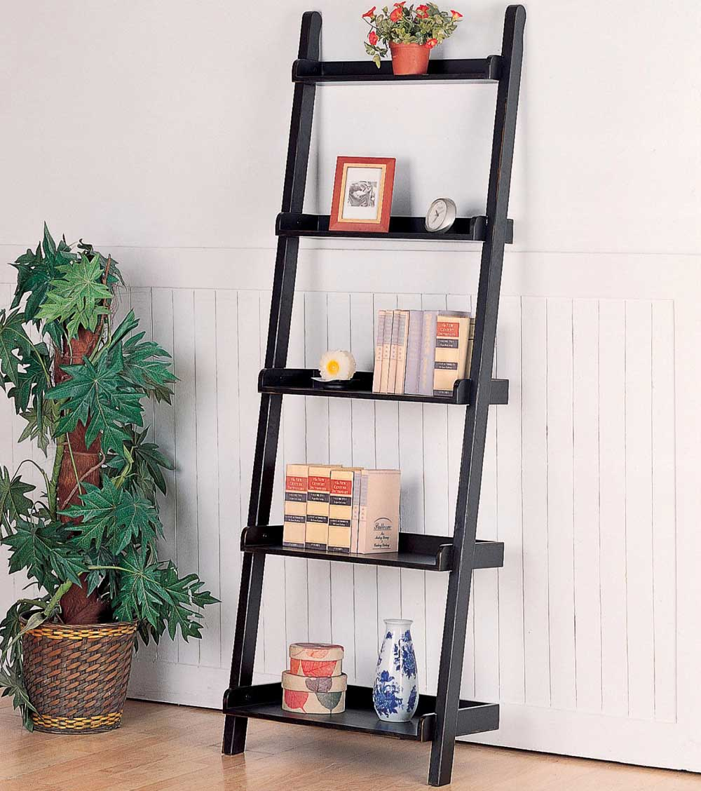 home office black leaning ladder bookshelves