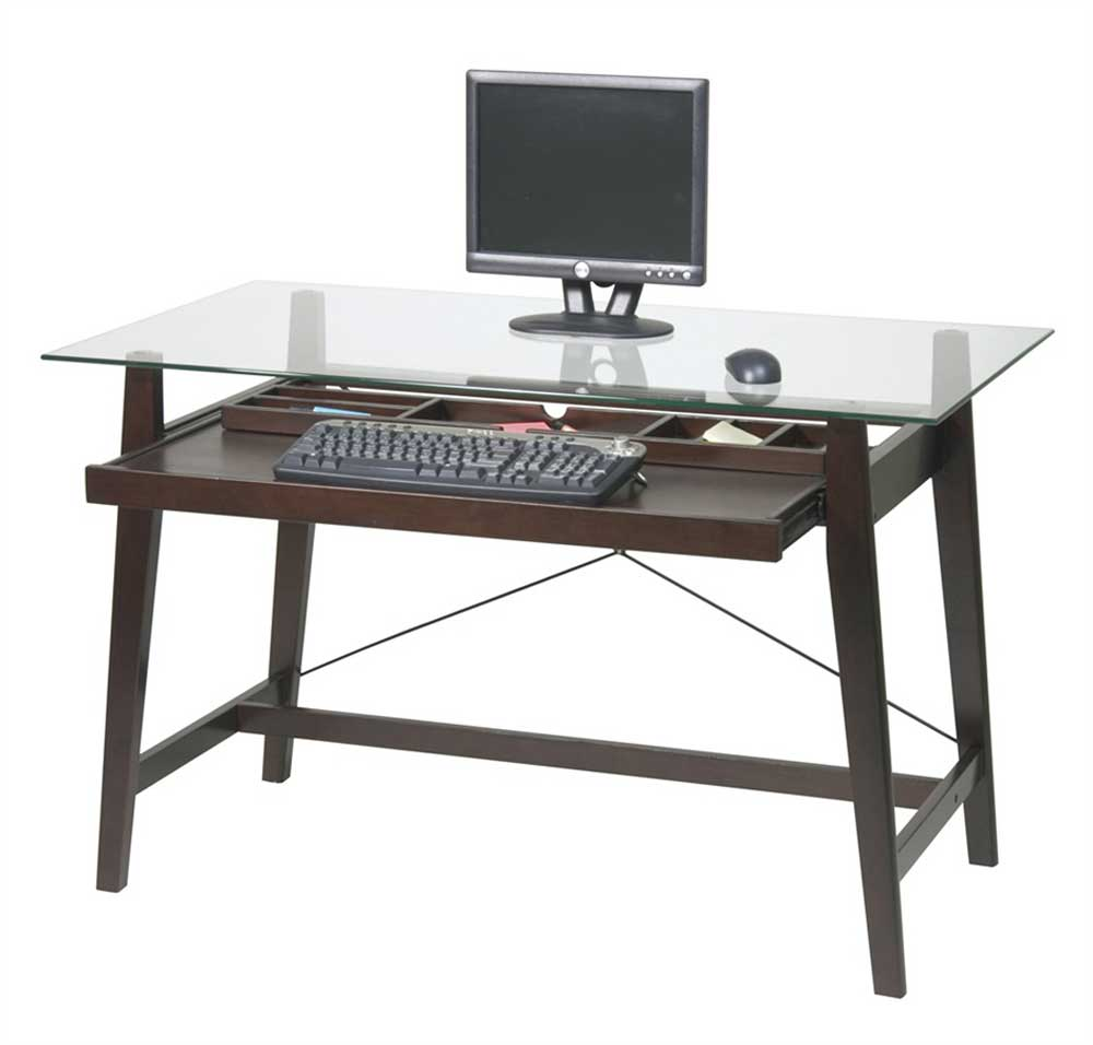 simple glass top office computer table style