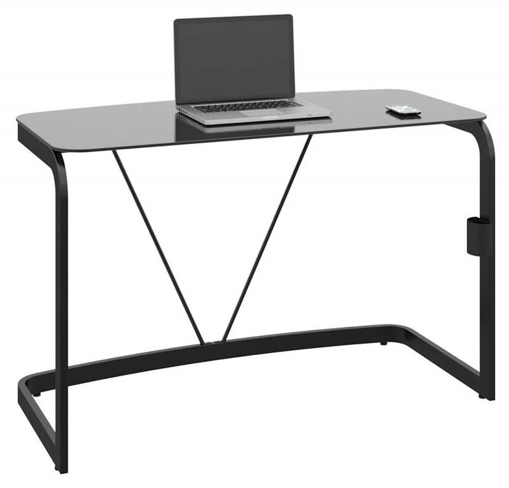 sleek high gloss black metal and glass laptop desk