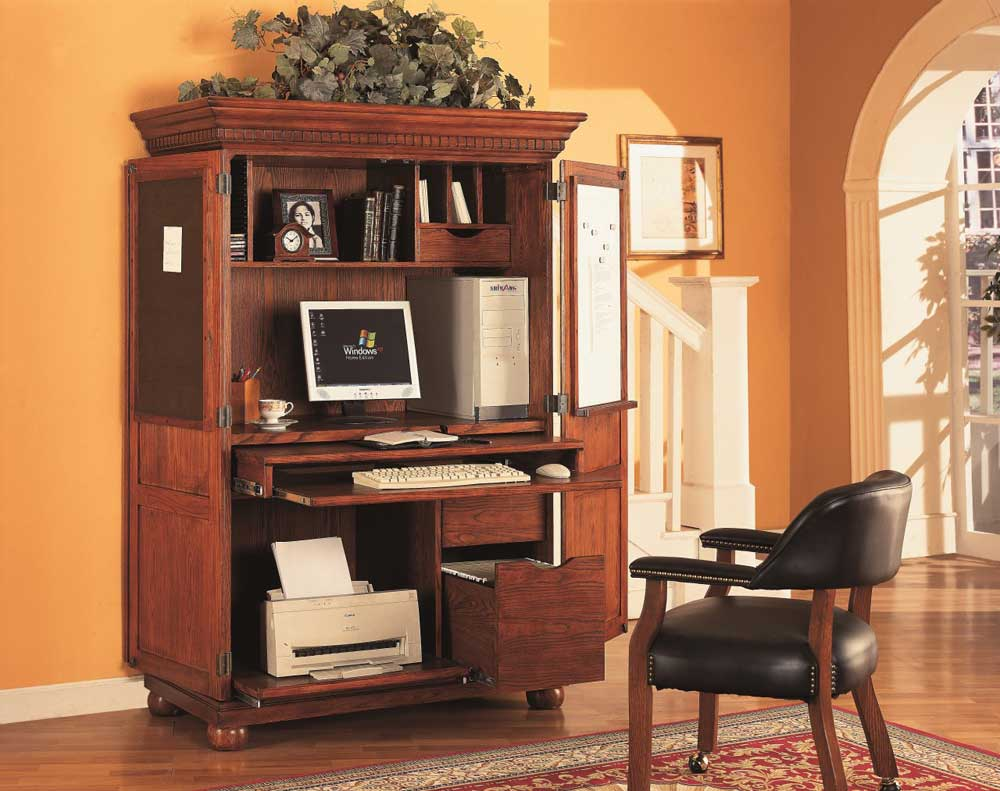 solid oak home office computer armoire and chairs