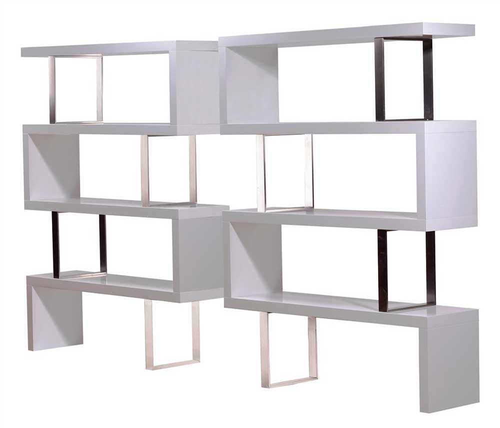 stylish room divider bookshelf in pearl white