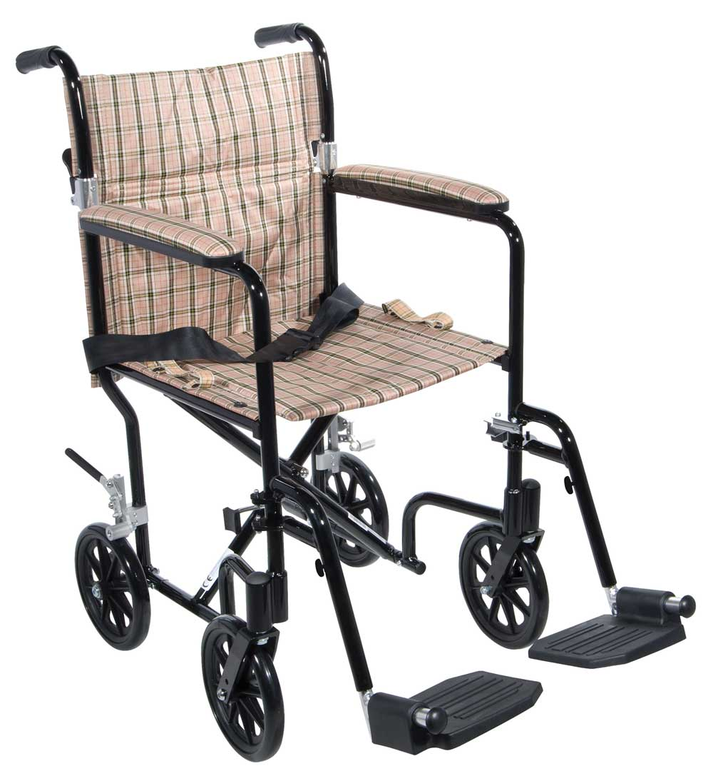 tan plaid upholstery and black frame lightweight wheel chair