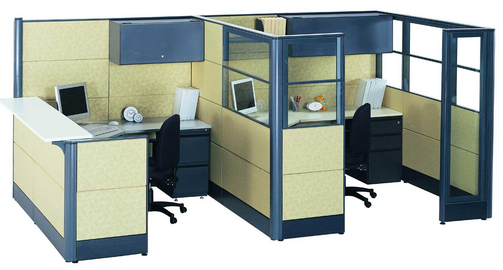 used office cubicle glass panel