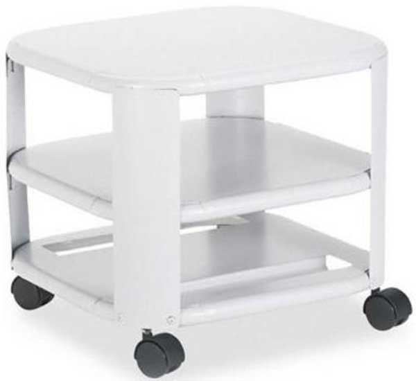 white mobile under desk with 3 shelf