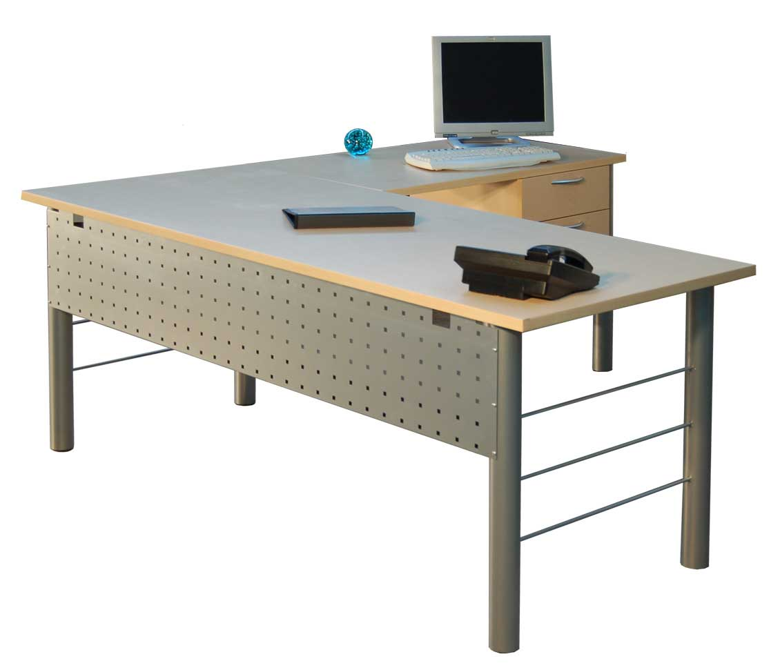 Big L-shaped steel office desk for computer