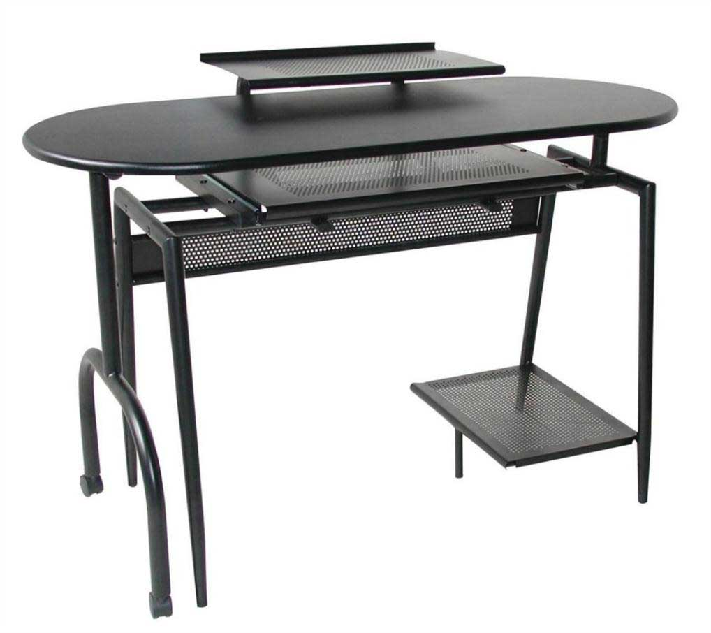 Black Metal Computer Workstation with Keyboard Tray