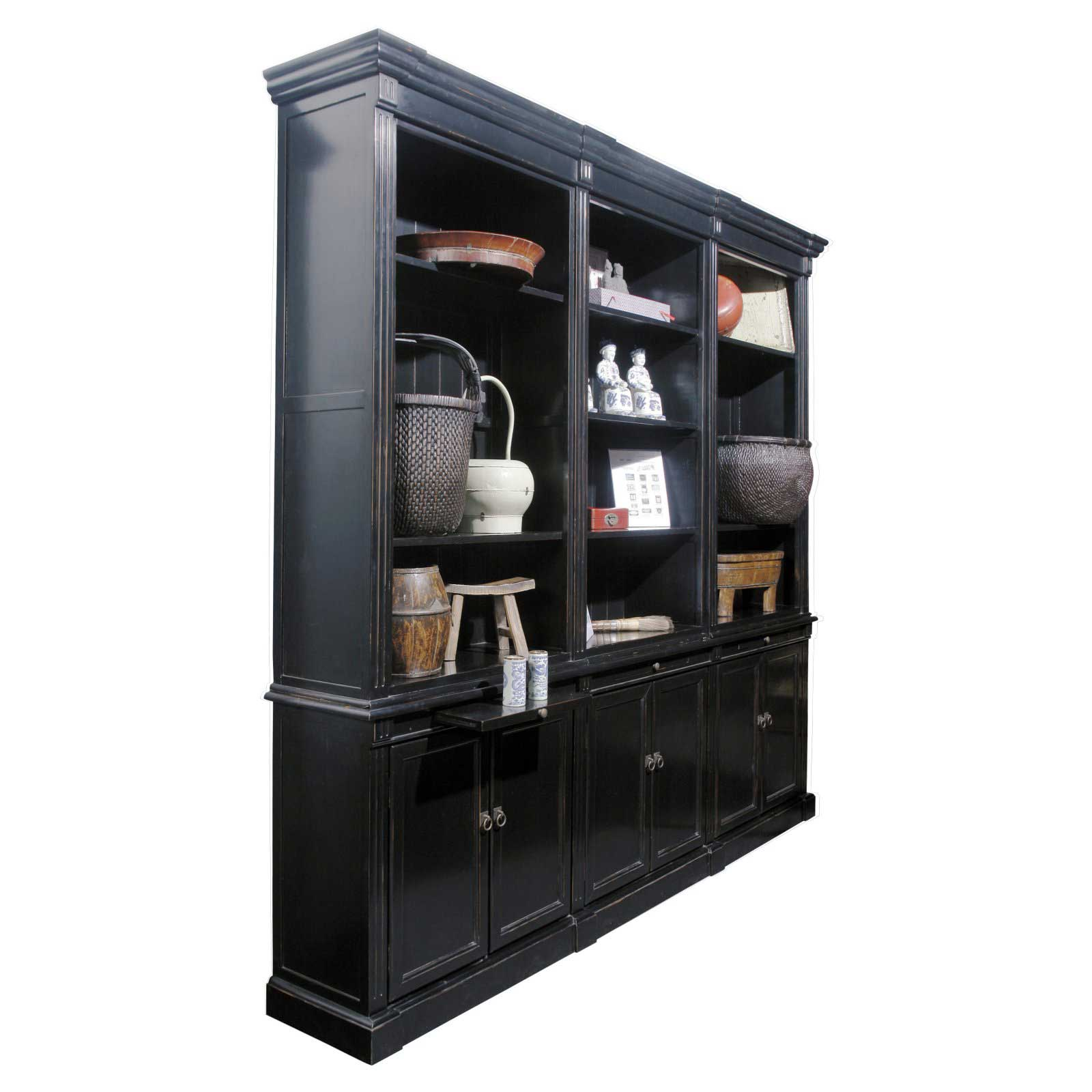 Black solid wood three panel bookcases