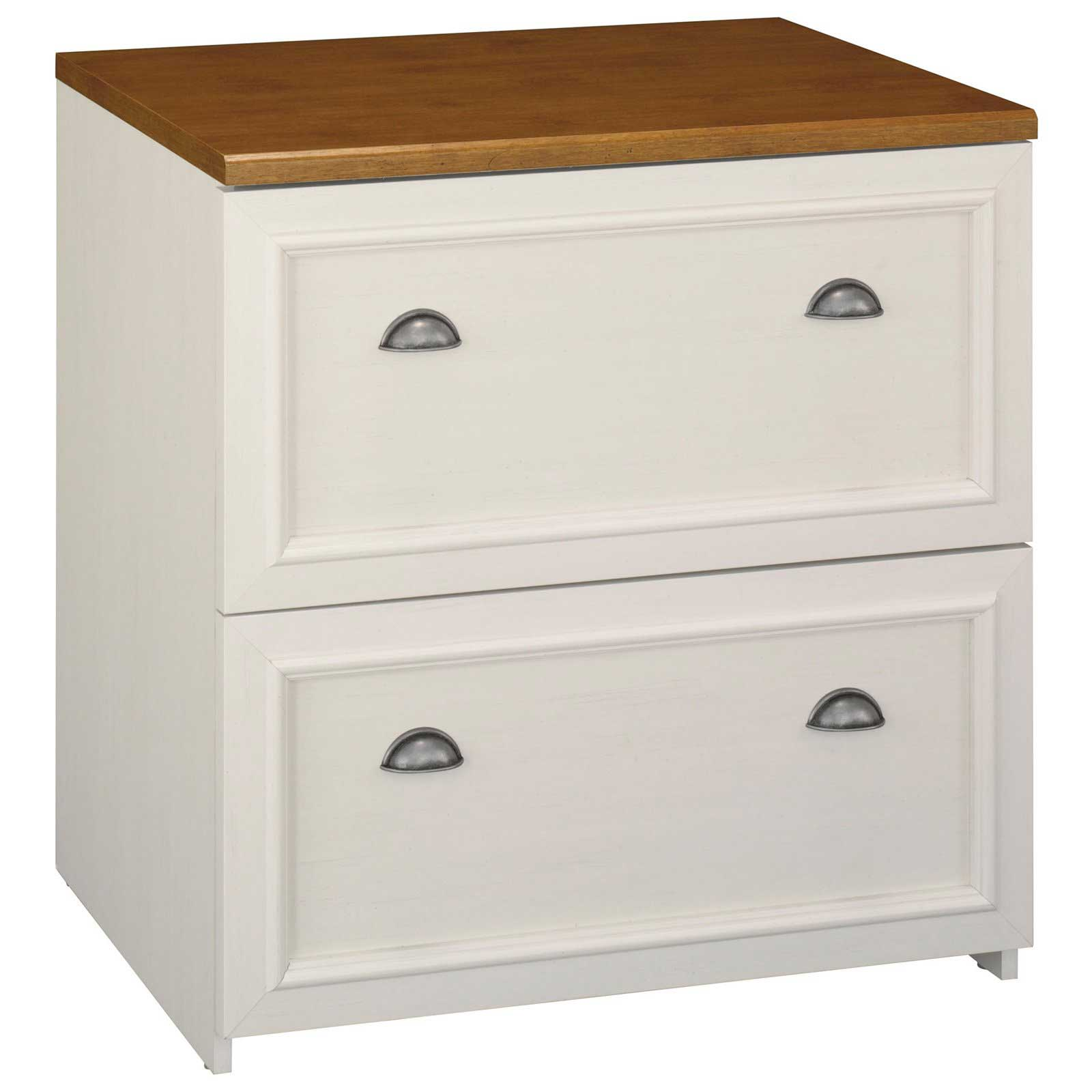 Bush Fairview White Antique File Cabinets Two Drawers