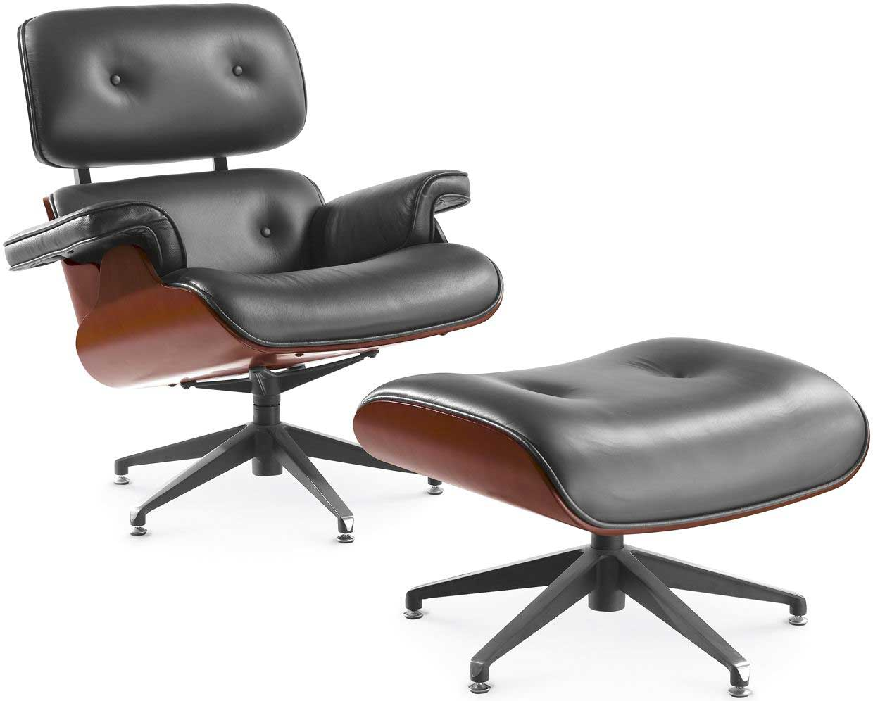 Casual Lounge Leather Office Chair With Ottoman