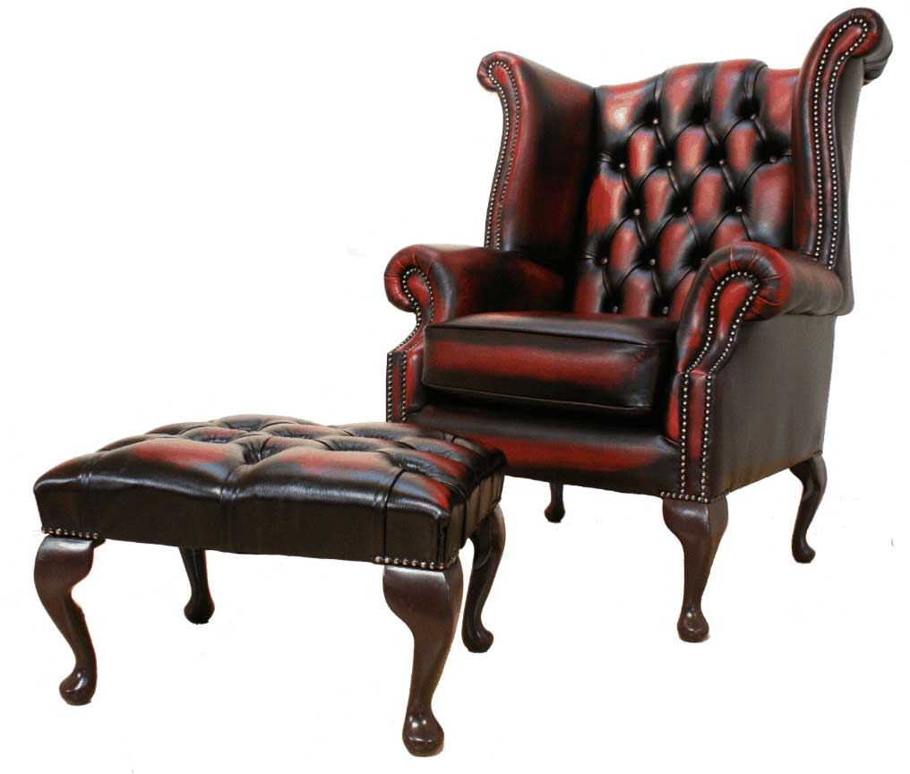 Chesterfield Queen Anne Oxblood High Back Armchair Leather with Footstool