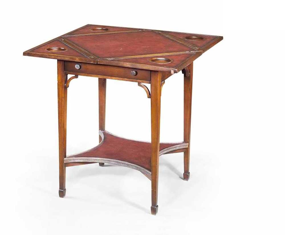 Classic Leather Game Solid Wood End Table