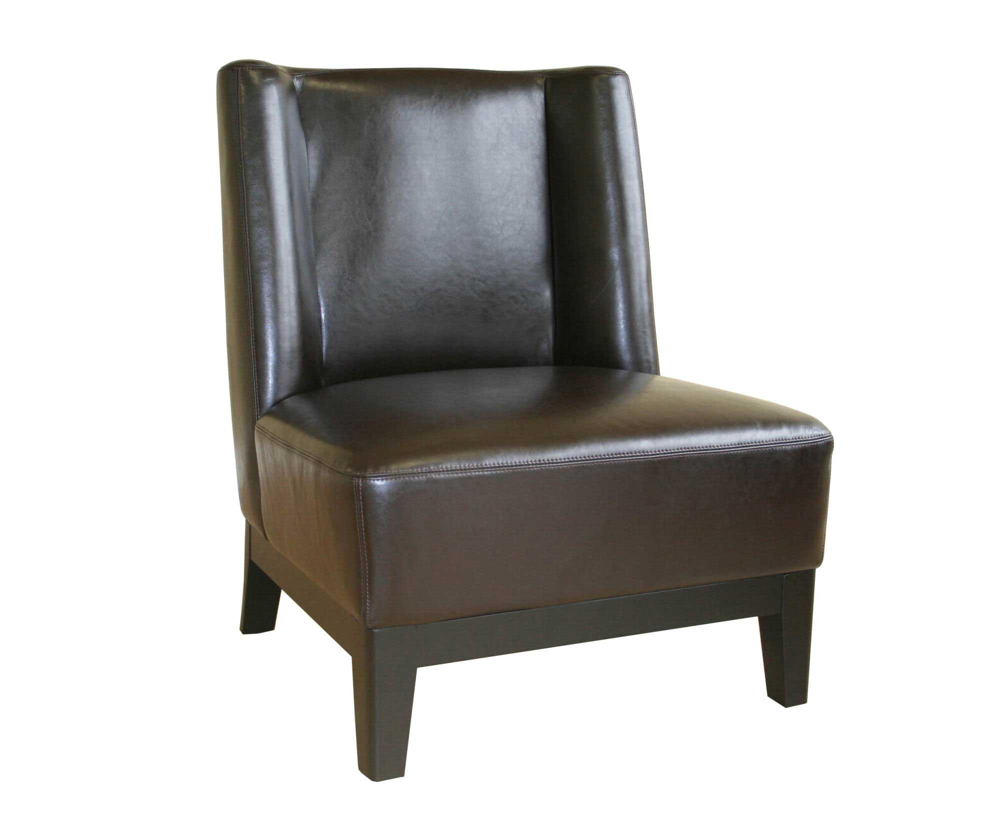 Cloten Dark Brown Leather Armless Accent Chairs
