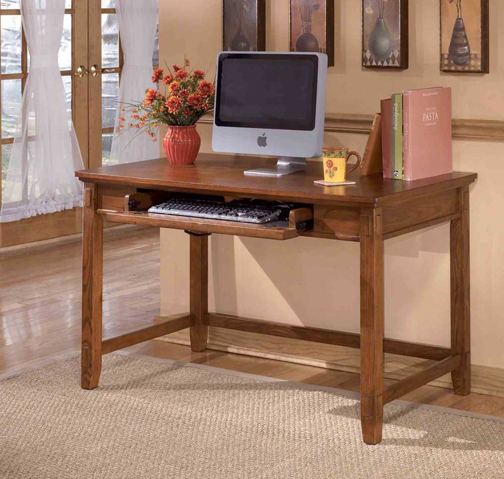 Cross Island Small Leg Solid Oak Computer Desk