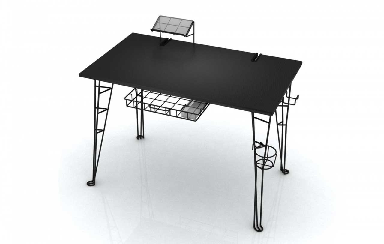 Designer black steel work desk with unique legs