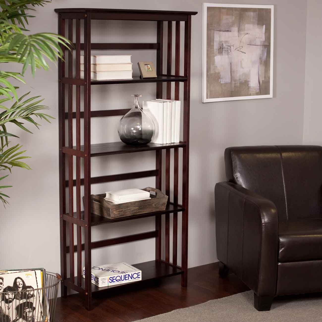 Espresso 4 tier Los Angeles Bookcases in Mission Style