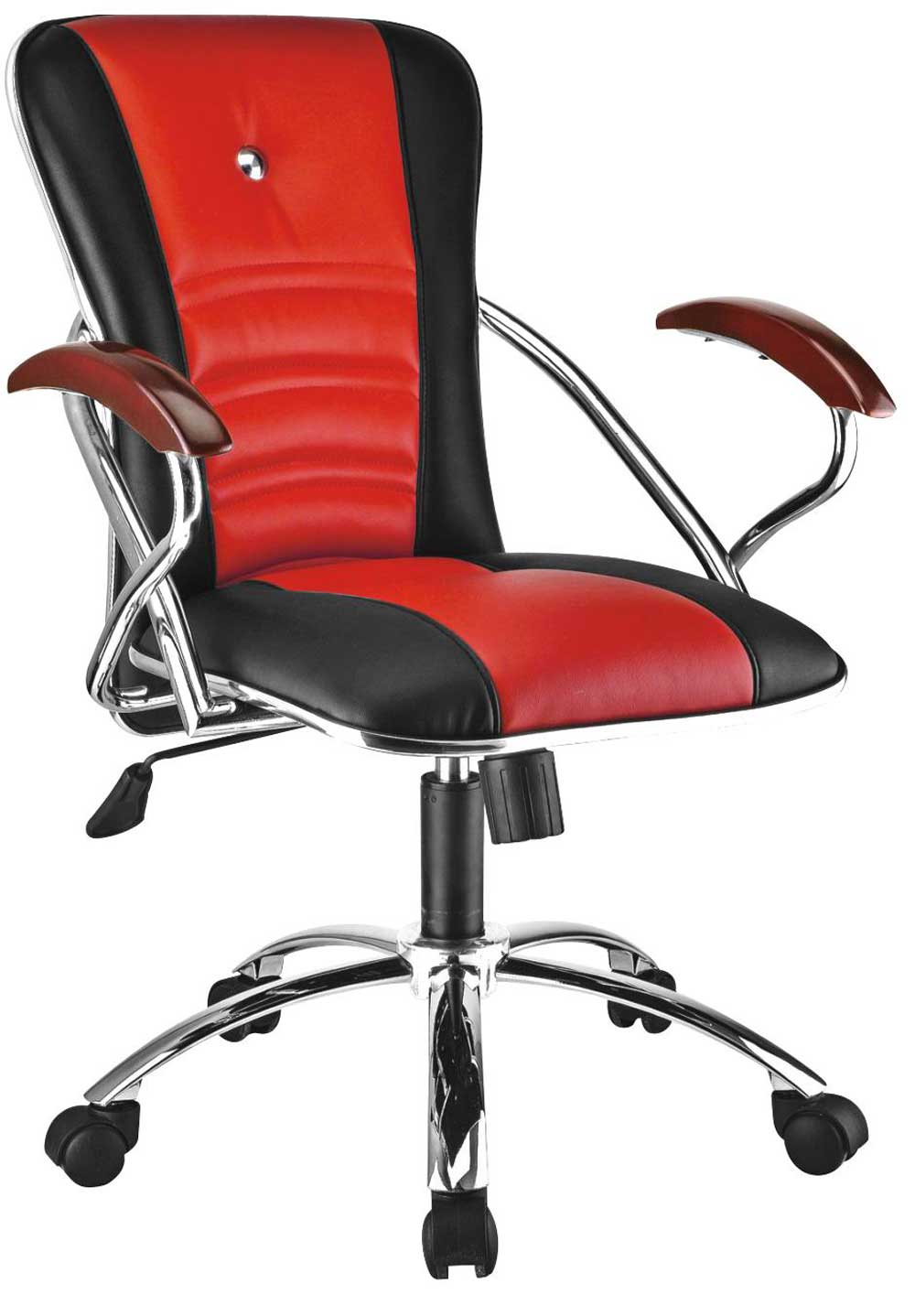 High back red and black ergonomic office manager chair with arms