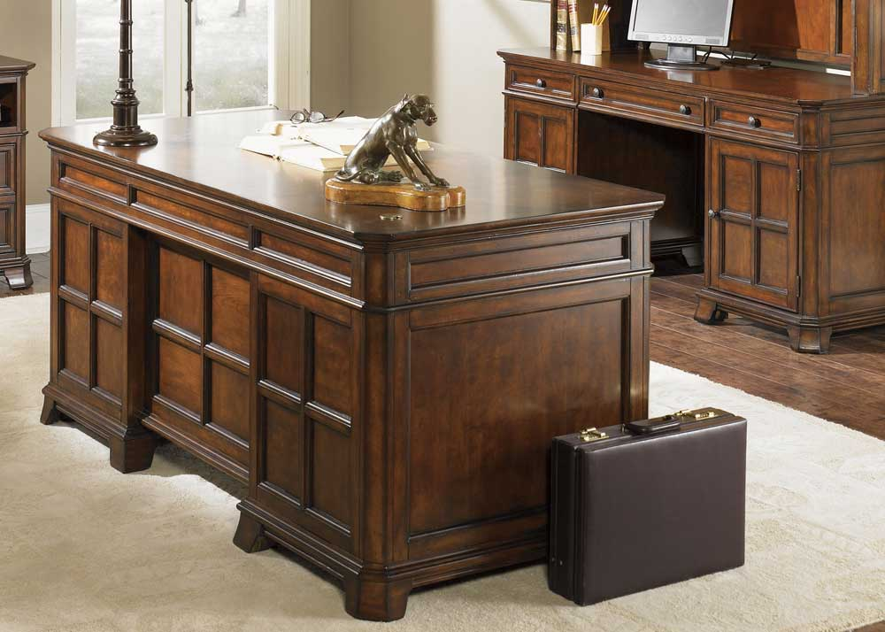 Liberty Remington wooden executive work desk with whiskey finish