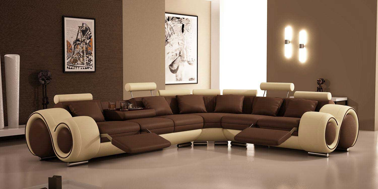 Luxury Brown White Recliner Sofa