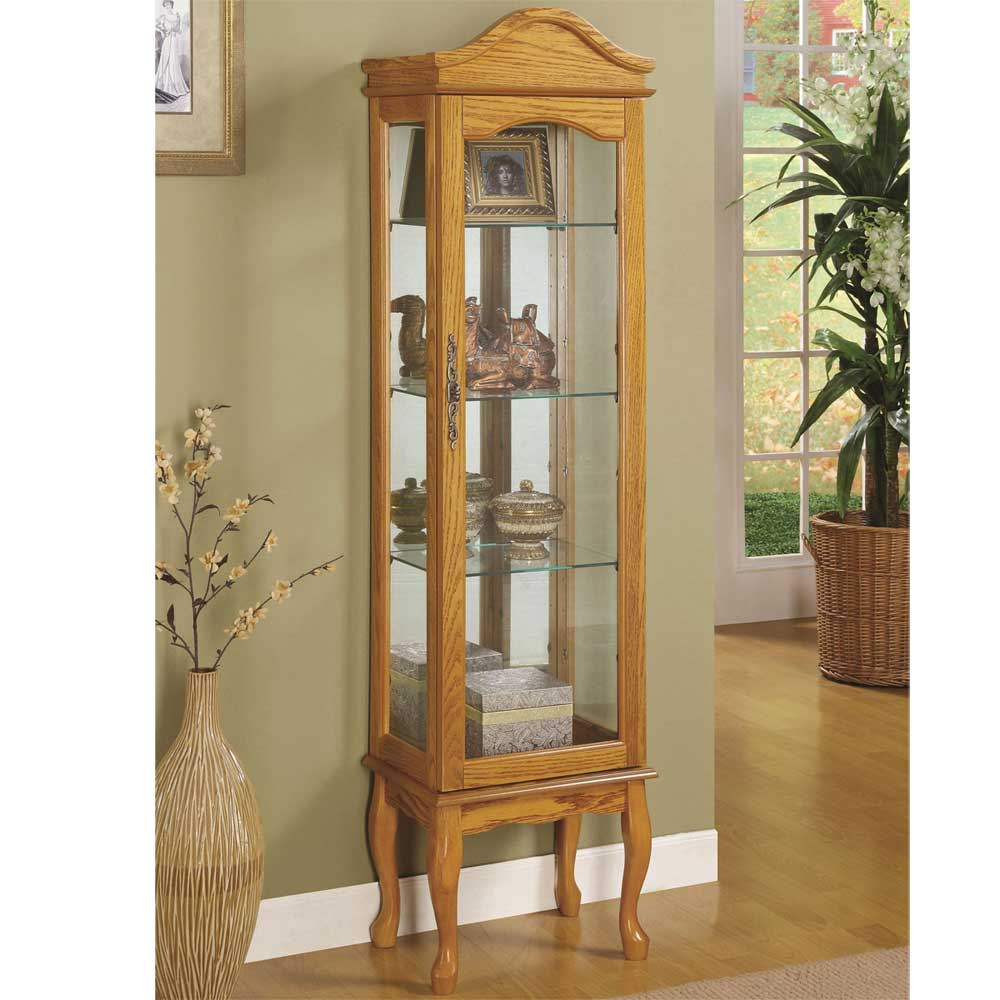 Oak glass curio cabinets with curved base