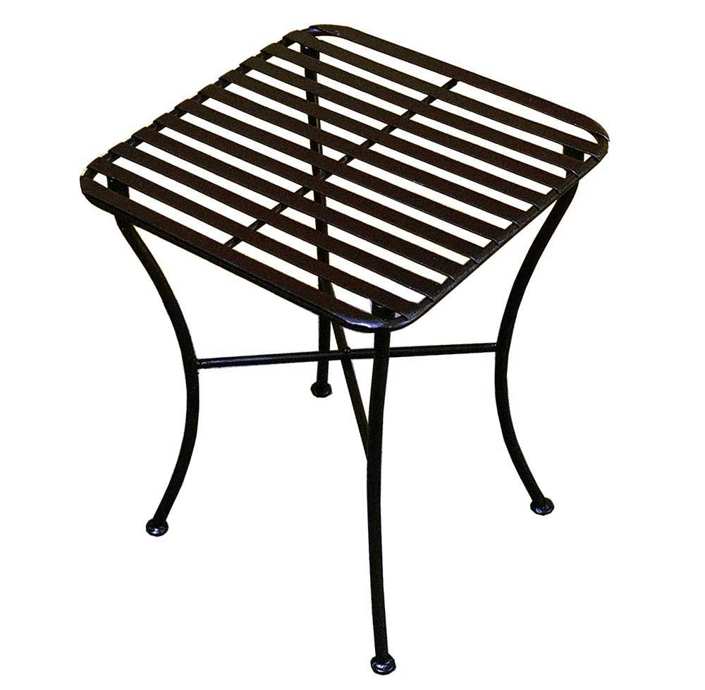 Pangaea square folding end table in black iron